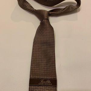 Tasso Elba mocha tan basket weave printed tie